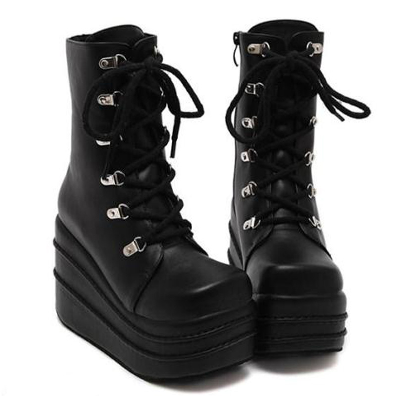 b4bb93cace8 Size 35 43 Botas Mujer Plataforma 2016 Winter Womens Boots Punk Style White  Wedge High Heel Boots Lace Up Wedge Platform Boots-in Mid-Calf Boots from  Shoes ...