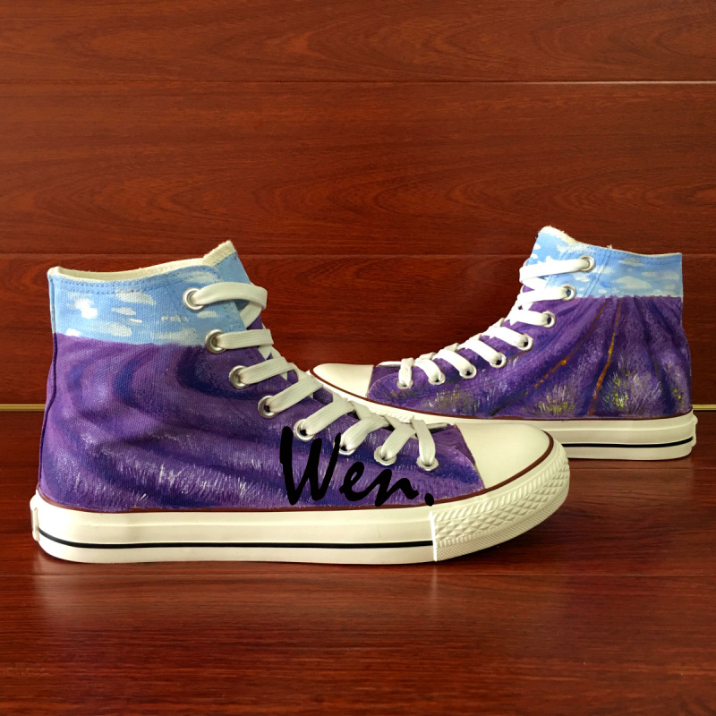 ФОТО Wen Design Custom Hand Painted Shoes Lavender  Birthday Gifts for Women Girls Purple High Top Canvas Sneakers