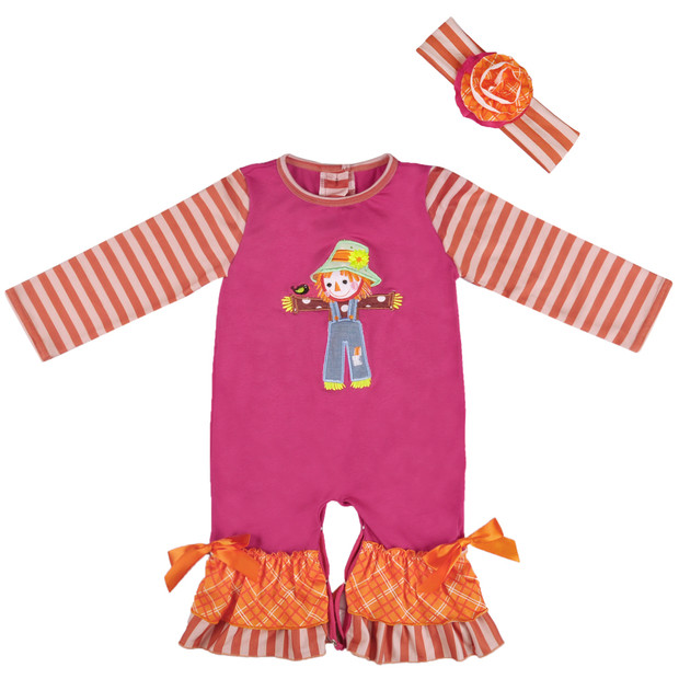 Hot Sale Fall Infant Scarecrow Baby Long Sleeve Cotton Embroidery Boutique Baby Girls Romper Matching Boy Romper GPF806-176