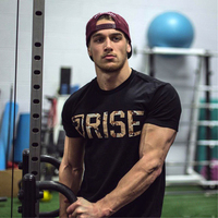 Muscle aesthetics Men's summer Fitness Bodybuilding T Shirt Printed cotton shirts Brand Fashion leisure Short sleeve tees tops