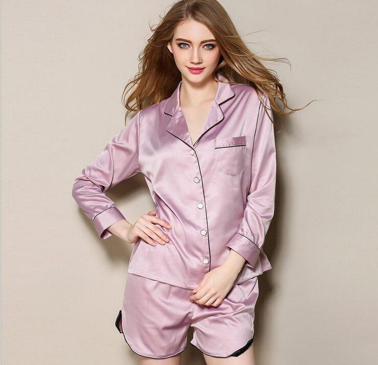 grande remise nouveau style de vie baskets € 21.16  Femmes mode soie Satin Pyjama ensemble v cou Pyjama Femme élégant  Pijama ensemble haut manches longues & Shorts deux pièces pour l'été-in ...