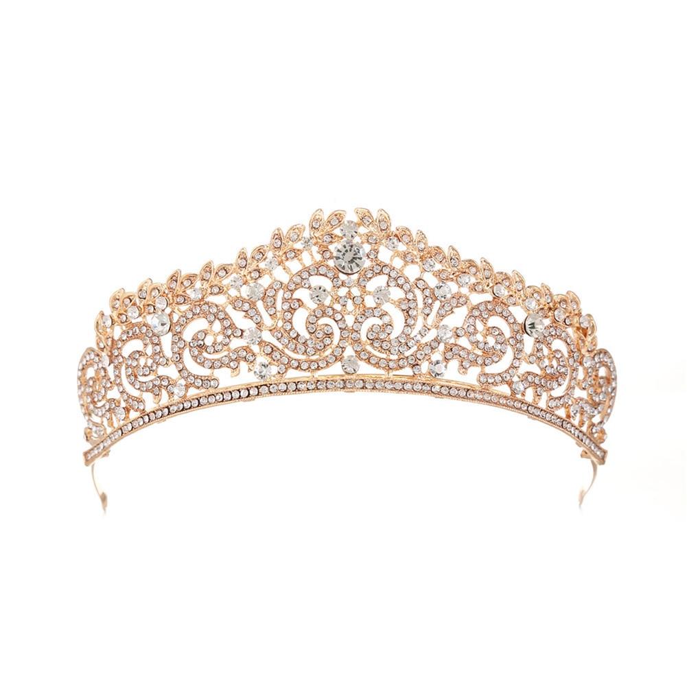 1 Pc Koningin Kroon Bruiloft Prom Bridal Crown Rhinestone Crystal Decor Hoofdband Sluier Tiara (goud) Golden Harmonieuze Kleuren