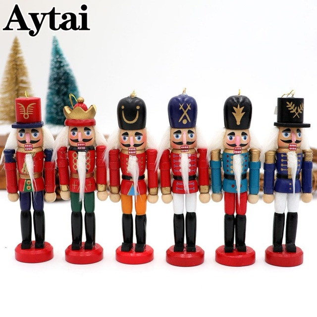 aytai 6pcs wood nutcracker christmas lucky zakka christmas nutcracker decorations ornaments drawing walnuts soldiers band dolls