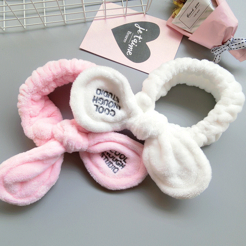 Sale Cut Big Rabbit Ear Soft Towel Hair Band Wrap Headband For Women Bath Kids Girls Face Washing Elastic   Headwear