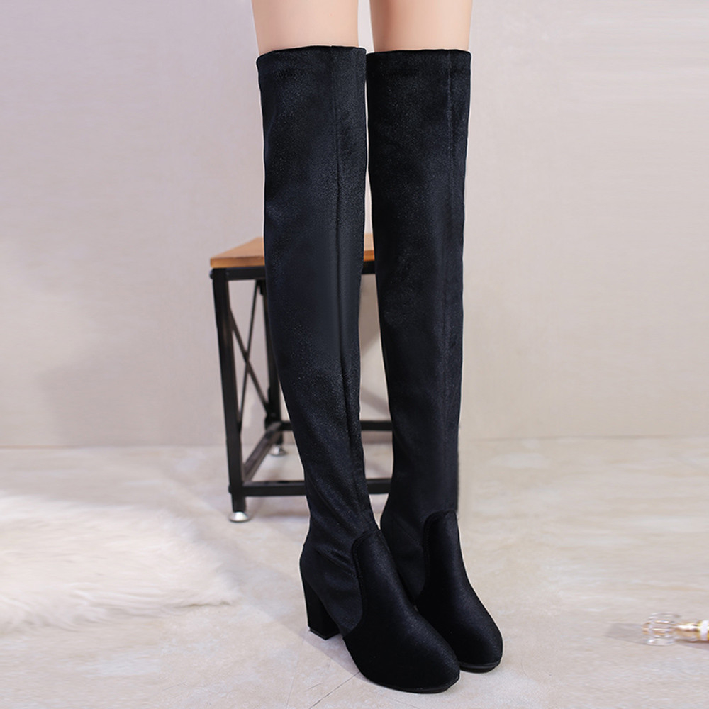 Winter Women Thigh High Boots Over The Knee Boot Stretch Flock High Heels Shoes mudibear women fux suede thigh high boots fashion over the knee boot stretch flock sexy overknee high heels woman shoes red