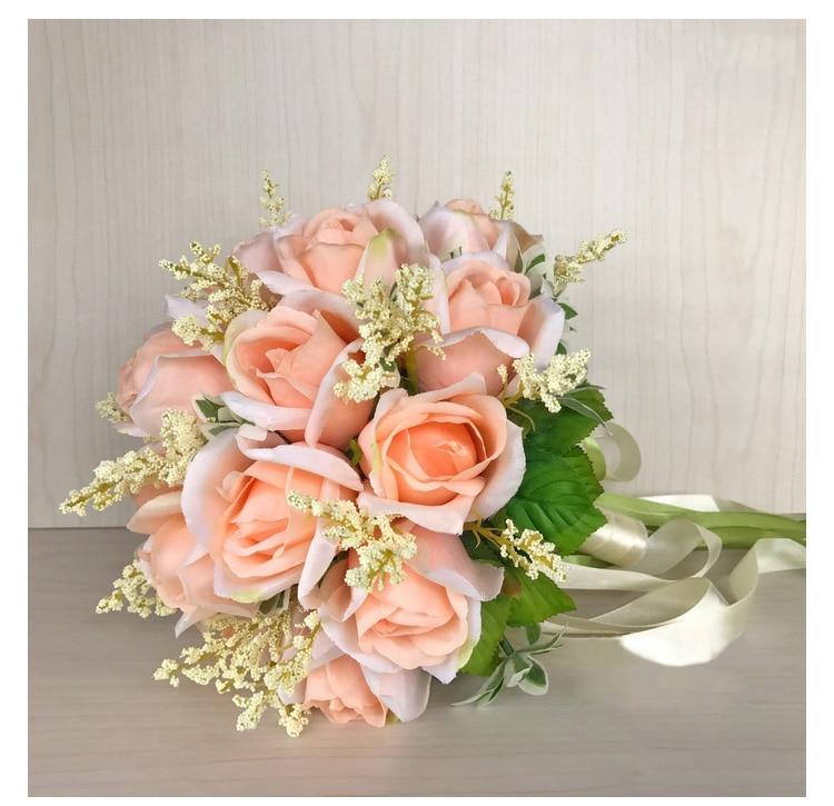white pink silk flowers bridesmaids bridal Wedding Bouquets rose flowers (11)