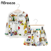 Sets Girls Children Fashion 2017 Autumn Lady Cartoon Printed 2 10 Year Kids Girl Party School