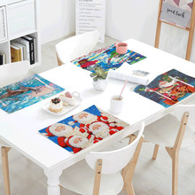Hot Sale Christmas Series Tablecloth 42x32cm Santa Claus Cute Dog Kitchen Restaurant Decor Napkin Western Mat Linen Table Flag(China)