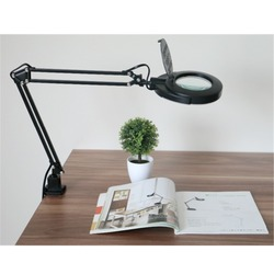 Reading Hobby Craft  SMD LED Swing Arm Task Clamp Clip-on Lamp Lighting Desktop Magnifier Magnifying Glass Len Table Clamp Lamp
