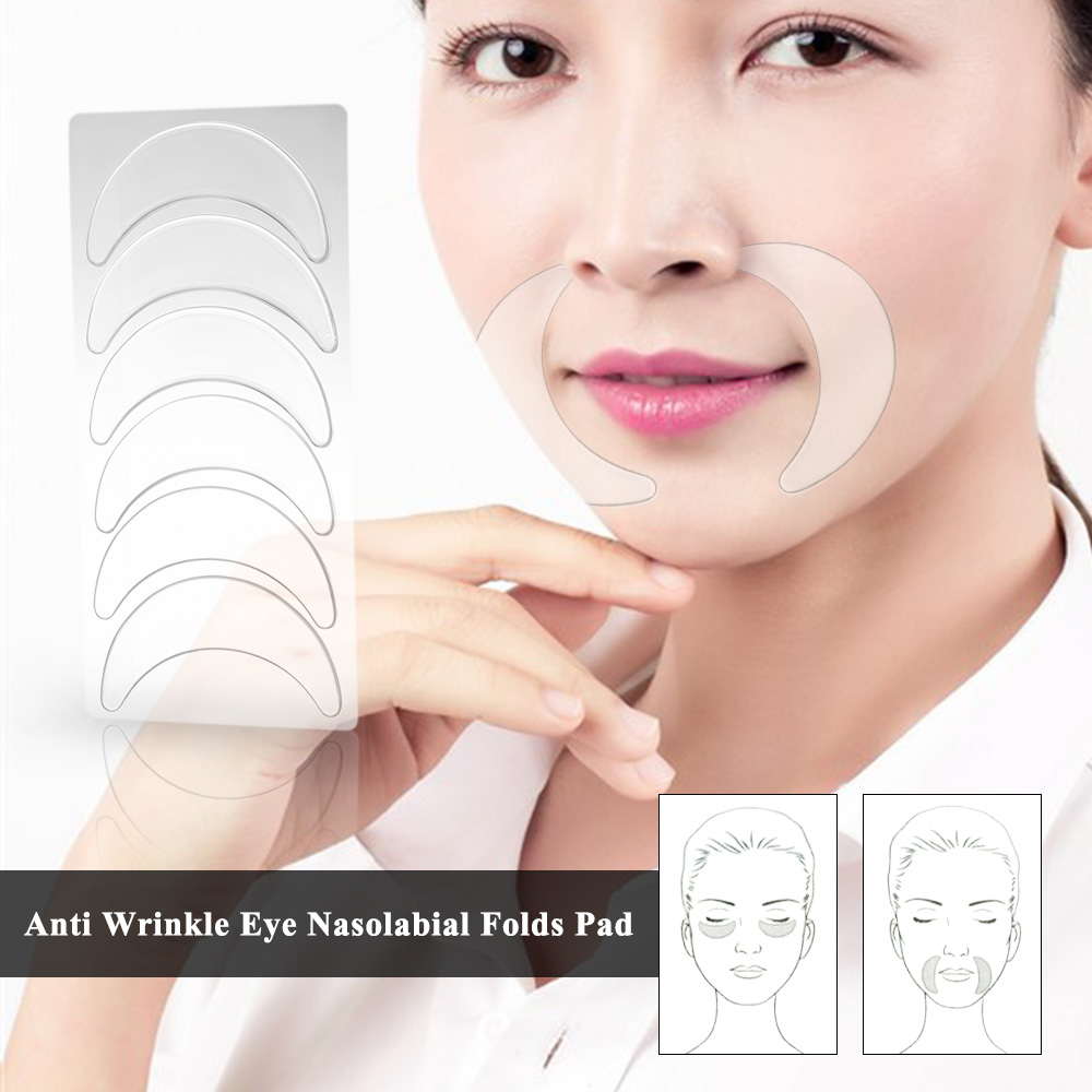 Reusable Anti Wrinkle Treatment Chest Pad+Facial Pad Set Silicone Transparent Removal Patch Skin Care Remove Wrinkles Fine Lines 4