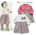 Otoño caliente floral bow baby girls dress 80-120 cm vestido infantil de manga larga de algodón encantadora vestidos de alta calidad bebes ninas