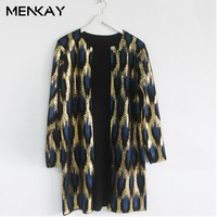 MENKAY 2018 Spring New Sweater Coat European And American Leopard Hot Gold Round Neck Cardigan