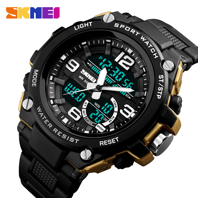 все цены на SKMEI Brand Military Sports Watches Luxury Big Dial Analog Quartz Digital Watch Men Waterproof Wrist Watch Man Relogio Masculino онлайн