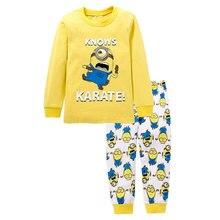 Cotton Home Suit Cartoon Pattern Printing Costume For Boy Minions Autuam Pajamas For Boy Minions Pajamas Boy Set Free Shipping