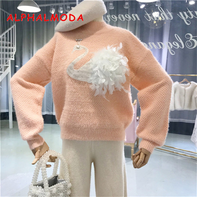 ALPHALMODA 2019 Spring Ladies Lazy Breeze Loose Swan Feather Faux Mink Cashmere Sweater Sweet Ladies Knitted Outfit Jumpers