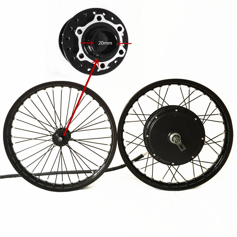 50 H QSV3 48 v-120 v 5000 w bicicleta elétrica motor do cubo da roda macthing com a roda da frente com hub 20mm kit bicicleta e