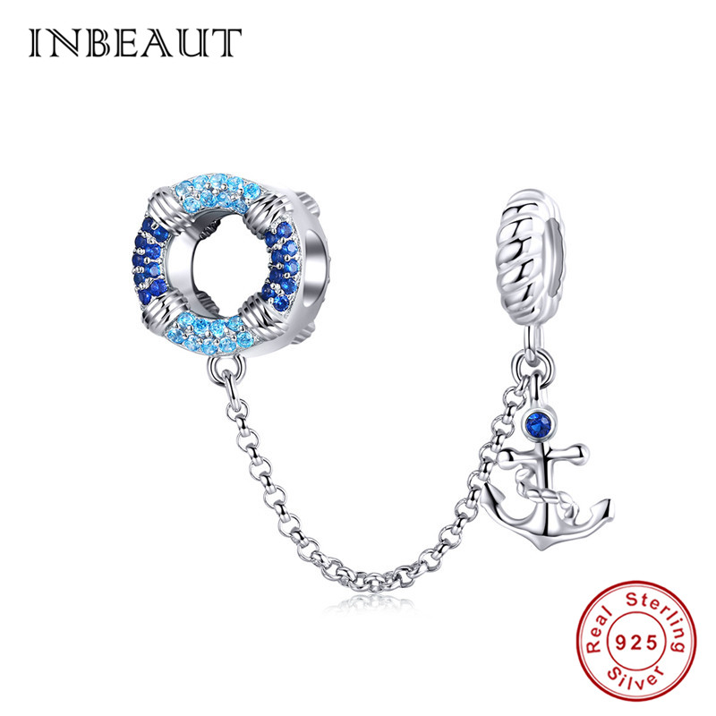 Wostu unique X Shape Charms 925 Sterling Silver With Blue CZ For Charm Bracelet