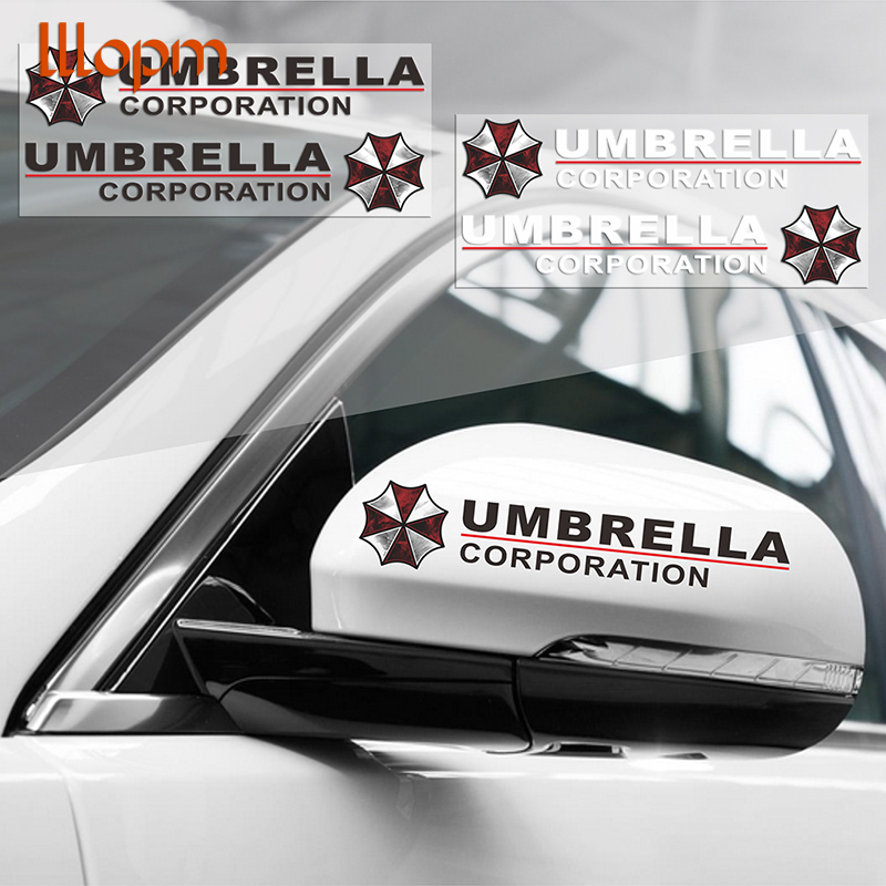 2pcs Umbrella Corporation Reflective Car Rearview Mirrow 3D Sticker And Decal For Golf Polo Audi Bmw Ford Focus Opel Kia Toyota