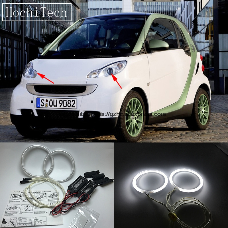 HochiTech For Smart Fortwo W451 Mk2 2008-2014 Ultra Bright Day Light DRL CCFL Angel Eyes Demon Eyes Kit Warm White Halo Ring hochitech white 6000k ccfl headlight halo angel demon eyes kit angel eyes light for vw volkswagen golf 5 mk5 2003 2009