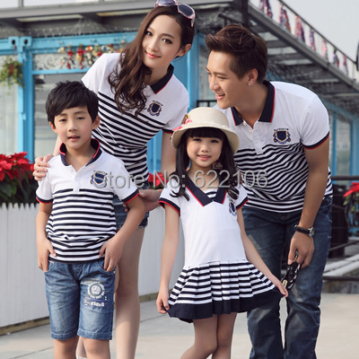 2015 Matching Father Mother Daughter Son Clothes Striped Family Look Family Matching Clothes Parent-child Outfit  Ma e Filha