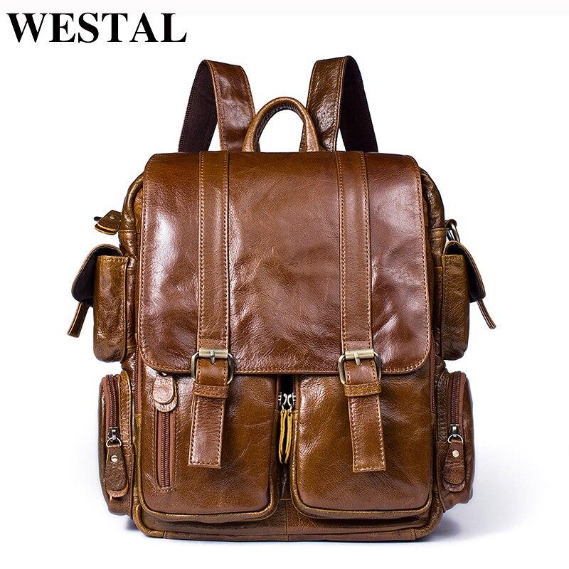 WESTAL Men Backpack for 14inch laptop Backpacks Large Capacity Student Backpack Genuine Leather Travel Backpacks for