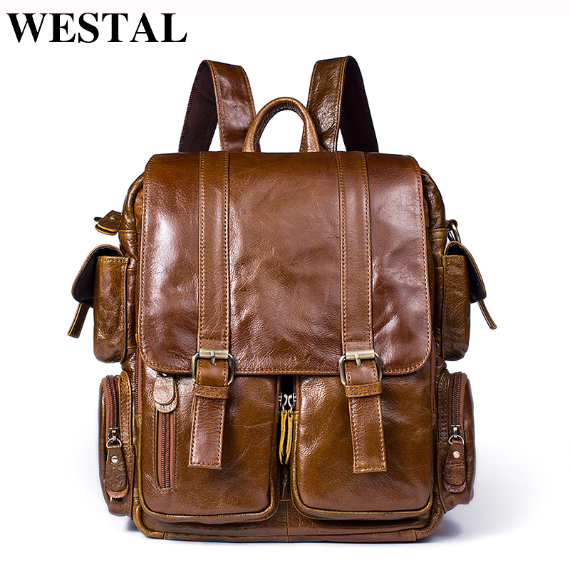 купить WESTAL Men Backpack for 14inch laptop Backpacks Large Capacity Student Backpack Genuine Leather Travel Backpacks for teenager онлайн
