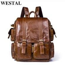 WESTAL Men Backpack for 14inch laptop Backpacks Large Capacity Student Backpack Genuine Leather Travel Backpacks for teenager