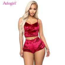 Adogirl Women Velvet Tracksuit Sexy V Neck Spaghetti Straps Crop Top + Shorts Fa