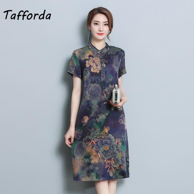 5ba4188f82c 2018 New Summer Women s Silk Dress Retro Vintage Style Elegant Printing  Dress Purple Fashion Loose Large Size Dress Female L-5XL