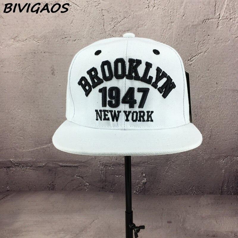 Новая мода мужские бейсболки бейсбольные шапки черно-белые 1947 бруклинские буквы вышивка хип-хоп кепки солнцезащитные шапки кости для мужчин и женщин - Цвет: Белый