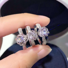 Utimtree Gorgeous 925 Sterling Silver Flower Wedding Rings Jewelry Hollow Out CZ Zircon Stone Engagement Promise Band Ring Lady