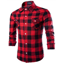 Zogaa Men Flannel Plaid Shirt 100% Cotton 2019 Spring Autumn Casual Long Sleeve Soft Comfort Slim Fit Styles  Man Clothes