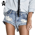 Achiewell Summer Casual Women Jeans Shorts Ripped High Waist Vintage Light Blue Tassel Women Denim Shorts Bottom