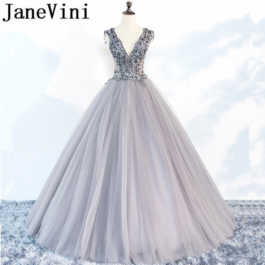 JaneVini Sexy Light Gray Beads Long   Bridesmaid     Dresses   Ball Gown Lace Appliques Backless Floor Length Modest Maid Of Honor   Dress