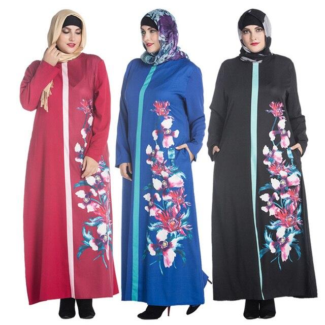 915739101a3e69a Плюс размер Мусульманской Абая одежда Турции Женщины Цветок печатных Pearl  Шифона платье аватар Мода Леди исламская