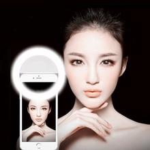 цена на Universal Selfie LED Ring Flash Light Portable Mobile Phone LEDS Selfie Lamp Luminous Ring Clip For iPhone X 8 7 6 Plus Samsung