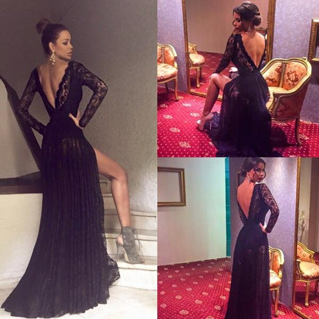 3322938f35 Sexy V Neck Blackless Lace Long Sleeve Evening Dress 2016 Custom Made robe  de soire Side Slit Prom Party Dress Vestido de festa