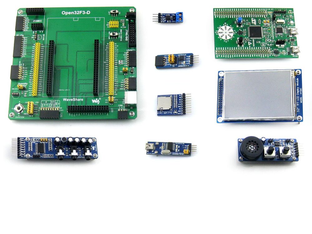 STM32 Development Board for STM32F3DISCOVERY STM32F303VCT6 MCU+9 Modules Kit with PL2303 USB UART Board = Open32F3-D Package A fast free ship for gameduino for arduino game vga game development board fpga with serial port verilog code