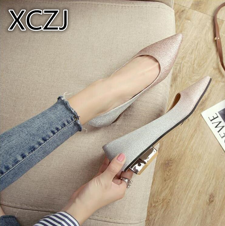 XCZJ Brand 2018 women Spring New Ladies Flat Shoes Casual Bling sexy Shoes Women Pointed Toe Ballerina Flats Slip On Shoes woman new arrival spring floral flat shoes women casual flats cotton fabric shoes woman round toe slip on ladies big size shoes eu42