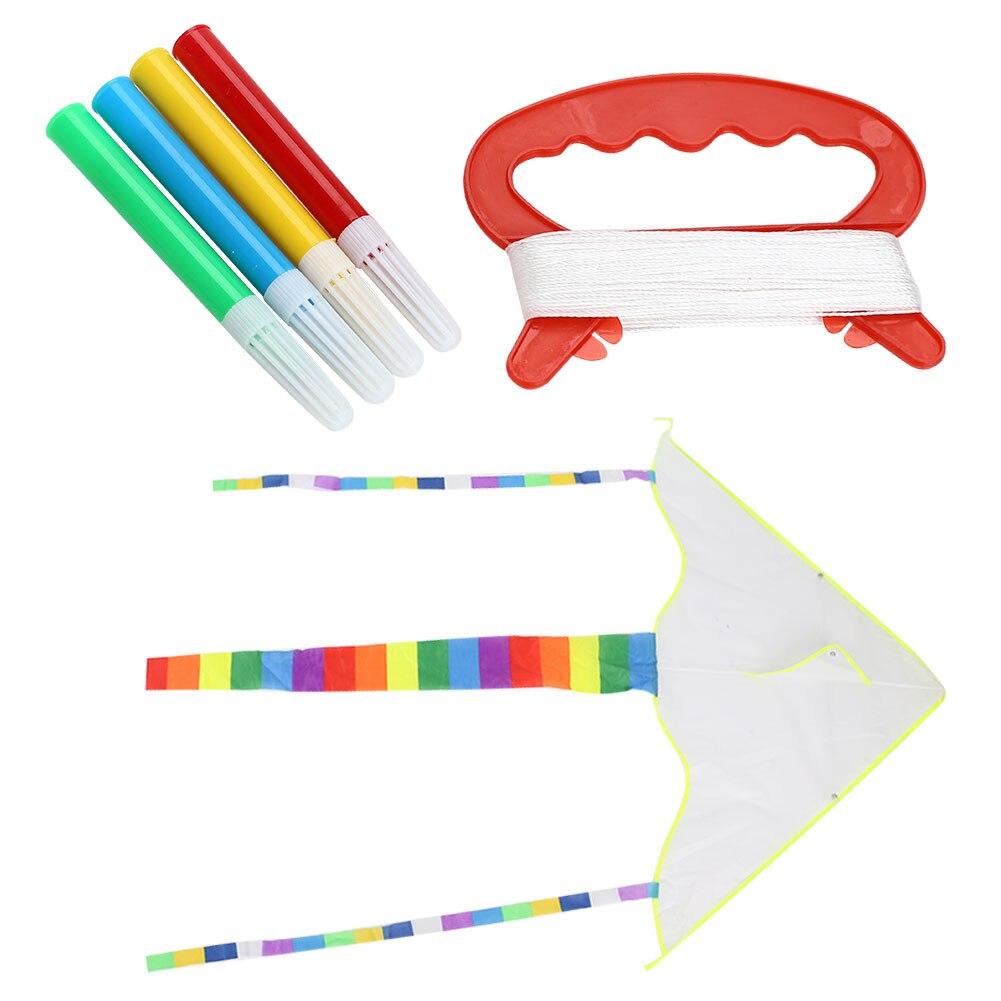 1 Set Diy Kite Blank White Painting Kite Foldable Outdoor Beach Kite Children Kids Sport Funny Toys Colorful Kite Flying Toys