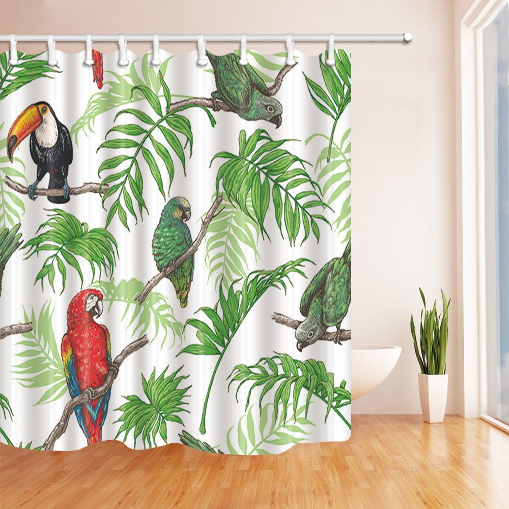 Birds Decor, Parrot and Toucan in Tropical Palm Leaves Shower ...