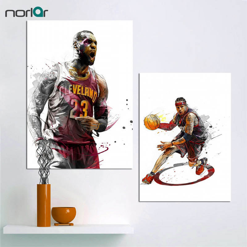 9f8b3f5d4d1d9 US $10.75 14% OFF|Wall Art Canvas Painting LeBron James Allen Iverson Dunks  Basketball Star Art Canvas Prints Poster Sports Pictures Wall Decor-in ...