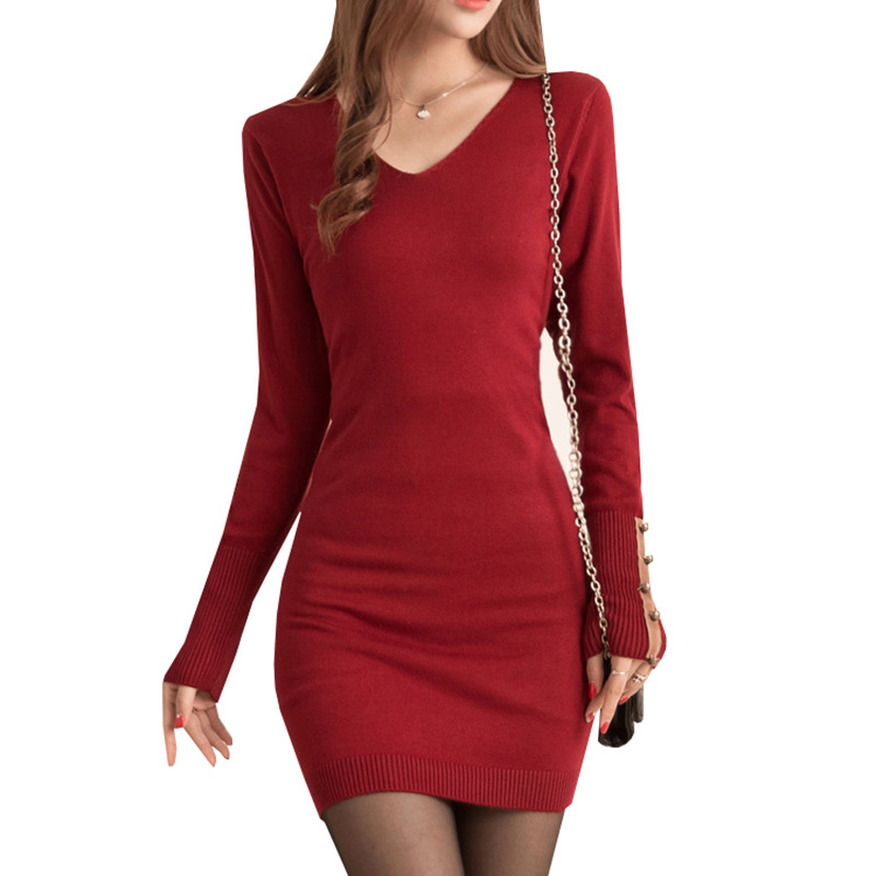 Women Sweater Dress New Autumn Winter Sexy V Neck Knitted Dress Female Long Sleeve Casual Slim Bodycon Dresses Vestidos AB395 bonu sexy bodycon sweater dress simple elegant dress female winter knitted flare sleeve split dresses for women vestidos