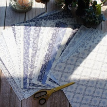 32sheets 12 DIY elegant blue flower lace rose leave design gift wrapping paper creative craft handmade scrapbooking set