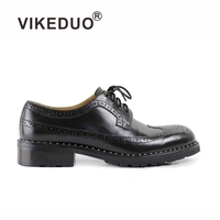 VIKEDUO Brand Vintage Men Handmade Mens Derby Shoes High Quality Luxury Fashion Black Genuine Leather Bullock Carved Footwear