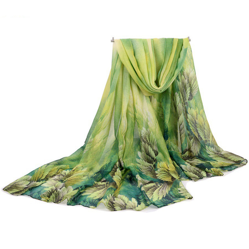 CUHAKCI Women's Summer Orange Green Sunscreen Cape Print Scarf Thin Polyester Scarves Spring and Autumn Accessories Shawl