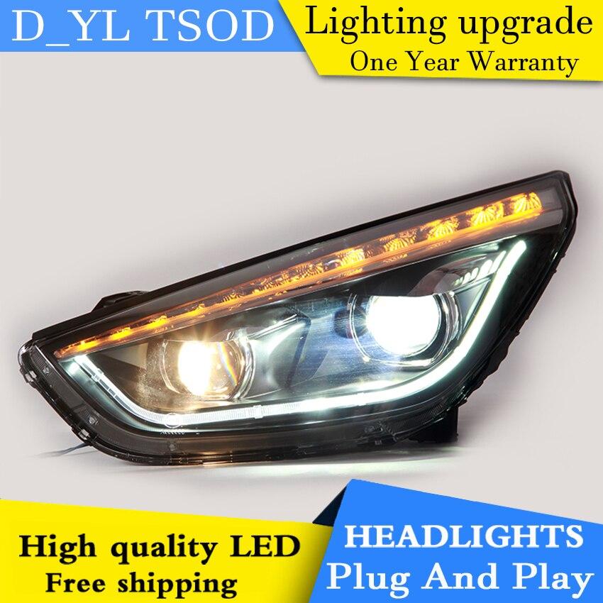Car Styling LED Head Lamp for Hyundai IX35 headlights 2011 2015 IX35 led headlight led drl