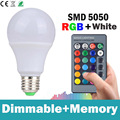 2016 New Arrival 5W 10W 15W E27 RGBW LED Bulb Color Light RGB White Timing Function Dimmable LED Lamp with Remote Controller