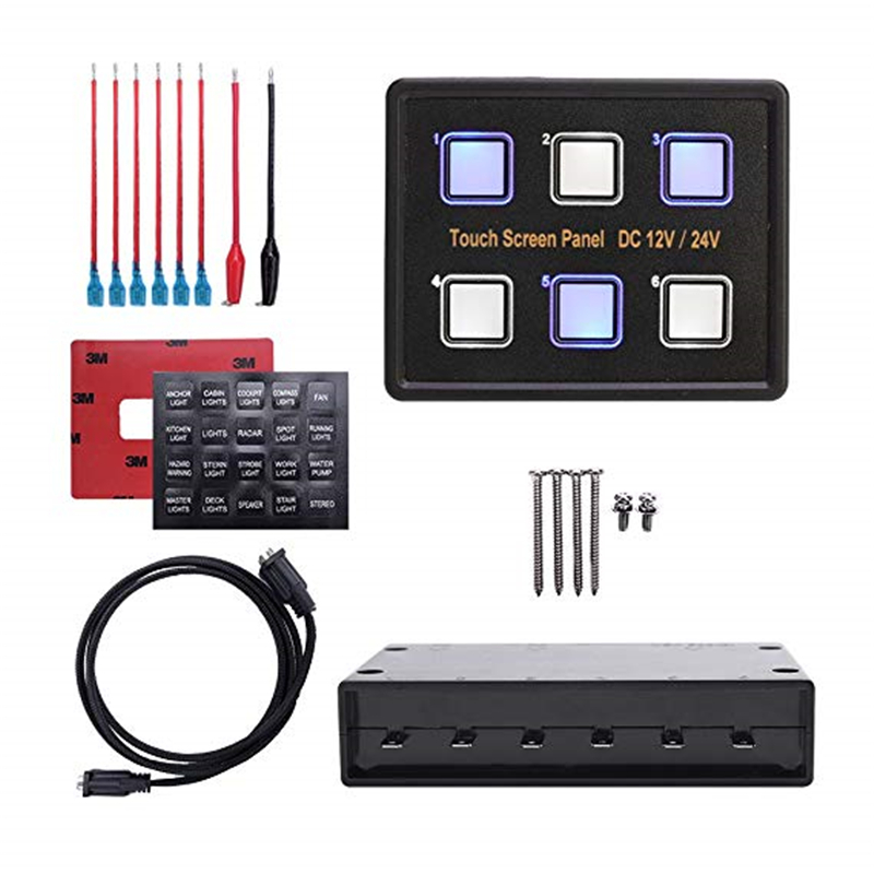 Image 2 - MICTUNING DC12 24V Advanced 6 In 1 Touch Screen Switch Panel 6 Gang LED Slim Touch Control Panel Box for Car Marine Boat Caravan-in Car Switches & Relays from Automobiles & Motorcycles