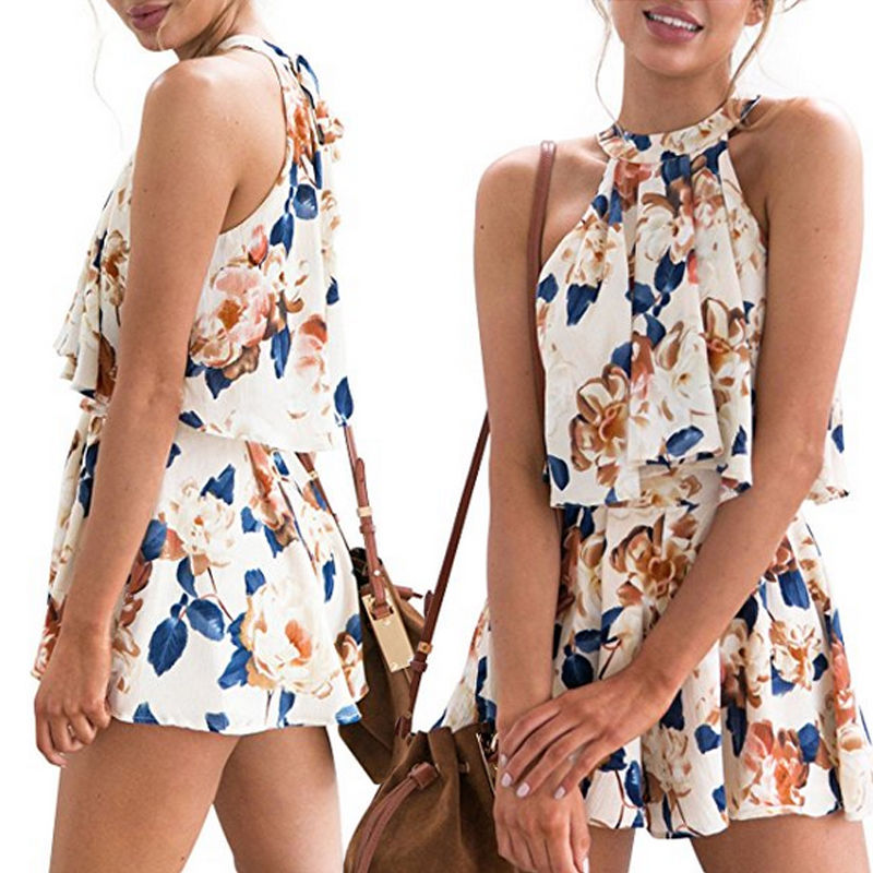 Fasion Womens Holiday Print Mini Playsuit Ladies Ruffles Jumpsuit Romper Summer Beach Shorts Sundress